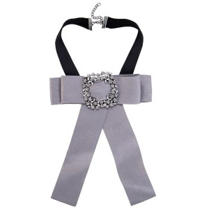 Pretty Grey Bow Corsage Beautiful Alloy Rhinestone Yarn Corsage