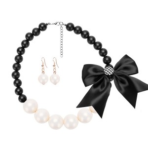 Popular Collarbone Resin Bead Necklace Women Fashion Jewelry Set Silk Bow Pearl Necklace