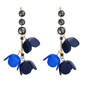 Wholesale Blue Resin Flower Earrings Europe And The United States Brand Earrings Acrylic Earrings
