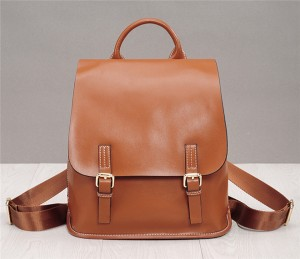 Oil Wax Leather Backpack For Women Korean Versi...