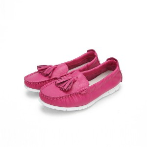 Hot Pink Cowhide Comfortable Women Fashion Loafers