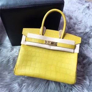 Top Quality Famous Brand Lemon Color Alligator Skin Fashion Handbag
