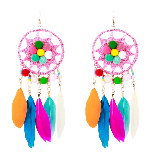 Wholesale Colorful Feather Earrings Europe And The United States Brand Earrings Hairball Earrings Featured Image
