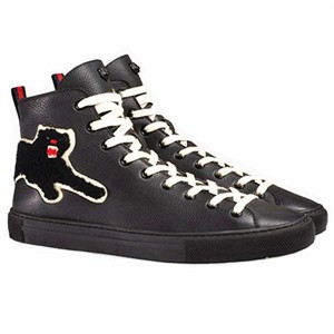 Black Cowhide Ankle  Lace Up Men Trainers With Bobcat Embroidery