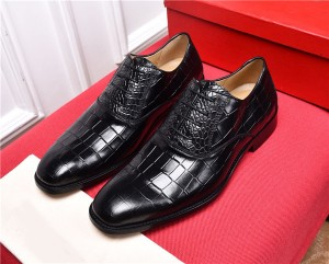 High Quality Black Alligator Leather Shoes For ...