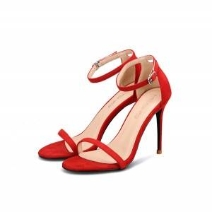Fine Heel Red Suede Sandals Women