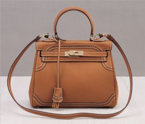 OEM Made Light Tan Plain Leather Purses Handbags Woman Purse