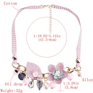 Light Green Collarbone Chain Necklace Plastic Flower Leaves Necklace Women Fashion Necklace