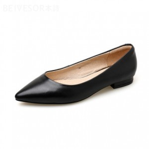 Black Goatskin Low Heel Fashion Shoes For Lady