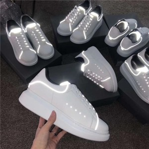 Most Welcome Luminous Sneakers Women White Genuine Leather Lace Up Shoes