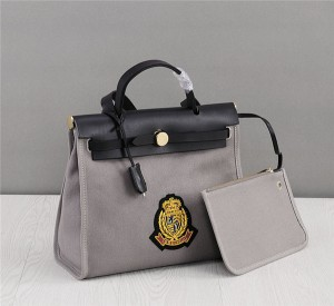 OEM Made Grey Canvas Bags For Ladies Handbags With Black Cowhide Leather Handle