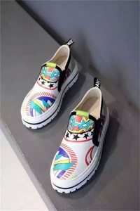 White Cowhide Shoes Colorful Graffiti Sneakers For Couples Shoes