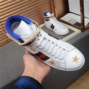 High quality white cowhide Custom Men Sneakers with star and bee embroidery