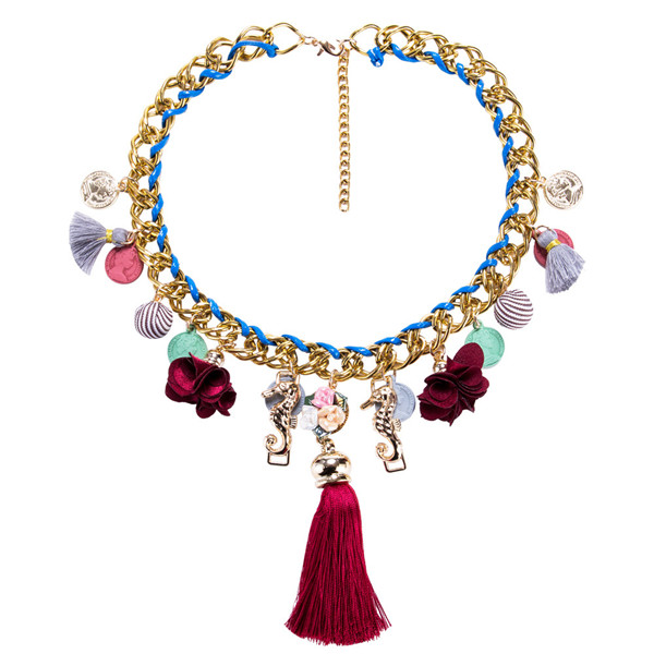 Europe And The United States Brand Tassel Necklace Women Fashion Silk Ribbon Flower Necklace Featured Image