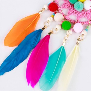 Wholesale Feather Earrings Hairball Earrings Women Fashion Ladies Braid Knitting Earrings