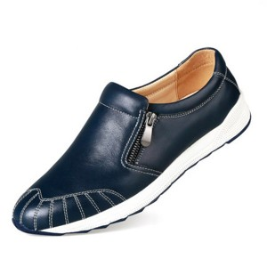 Blue Leather Men Leather Footwear With Zipper