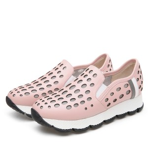Pink Punching Hole Cowhide Sports Trainers For Women