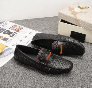 OEM Men Italian Designer Shoes Black Woven Cowh...