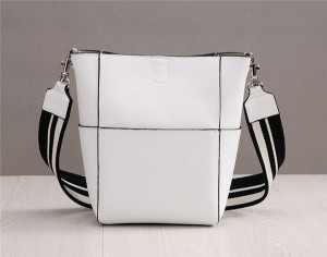 High Quality Female White Cowhide Leather Bucket Bag With Colored Strap Bag