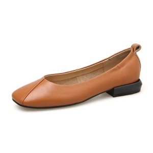 Ladies Light Tan Leather Shoes With Square Toe