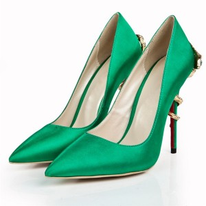 10cm Stiletto Shoes Green Silk Satin Upper
