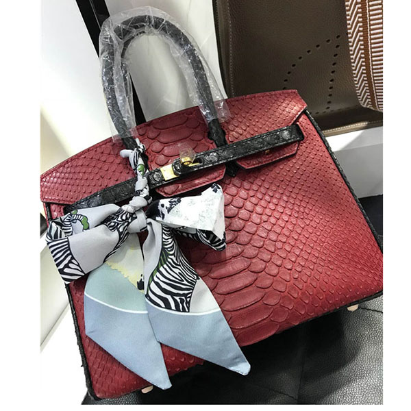 High Quality Famous Brand Bags Handbags Fashion Red Snakeskin Handbags 30cm & 35cm Featured Image