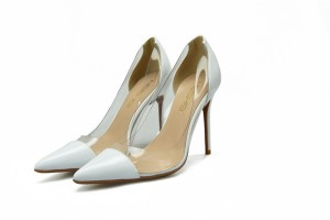 Lady'S White Patent Leather Stilettos Mat...
