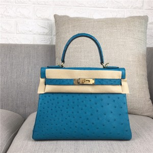 High Quality Famous Brand Light Green Ostrich Lady Bags 28cm 32cm