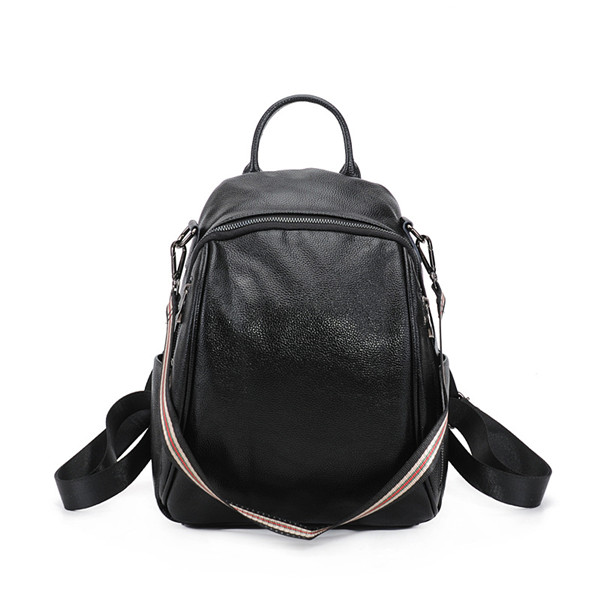 High Quality Fashion Student School Backpacks Black Cowhide Featured Image