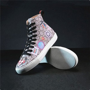 High-Grade Flower And Bird Printed PVC Fabric Sneakers Shoes