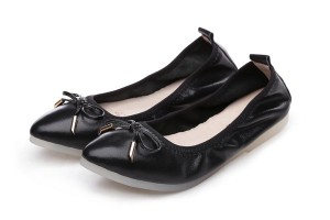 Black Pointed Toe Big Size Women Shoes Women Foldable Flat Casual Shoes With Transparent Rubber Sole