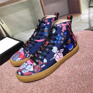 Most Popular Lace-Up Jacquard Satin High Top Shoes With Donald Duck Printed