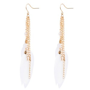 Wholesale Europe And The United States Brand Earrings Women Pink Feather Earrings