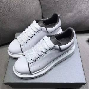 Lace Up White Cowhide Lovers Sneakers With Luminous