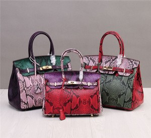 High Quality Famous Brand Bags Handbags Ladies Snakeskin Grain Leather Bags Birkin