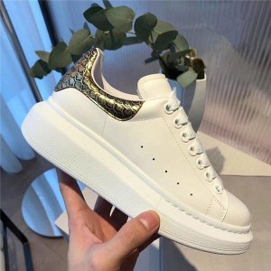 Thick Sole Bronze Fish Scales Designer Lace Up Trainers Shoes White Cowhide