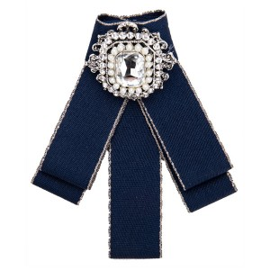 Beautiful Girls Boutonniere Women Fashion Neckwear Blue Multi-Layer Canvas Corsage Circle Rhinestone-Studded Brooch