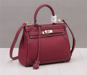 High Quality Red Trendy Bags Women Original Leather Branded Sling Bags