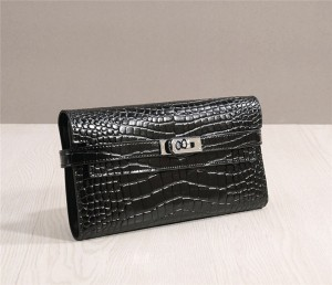 Black Crocodile Leather Wallets High Quality