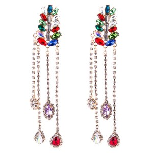 Blue Multi-Layer Glass Rhinestone Earring Women Fashion Long Earring Bohemian Style Earring