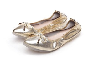 Golden Sheepskin Pointed Toe Ballet Shoes Women Folding Brand Name Shoes With Transparent Rubber Sole