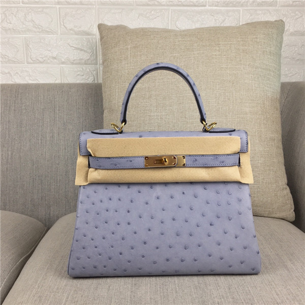 High Quality Grey Ostrich Leather Office Lady Handbag 28cm 32cm Featured Image