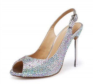 Hot Sale Women High Heel Sandals With Colorful Rhinestone Crystal