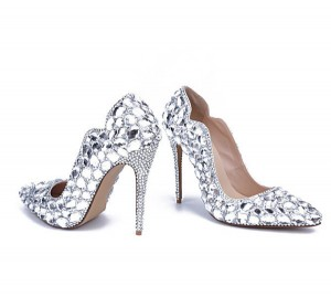 10cm High Luxurious Crystal Shoes With Rhinestone