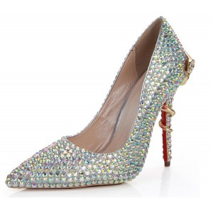 Handmade Colorful Rhinestone Women Luxury High Heels 11cm