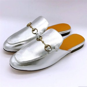 Famous Brand Name Silver Sheepskin Half-Slippers Loafers Big Yard Shoes Flat Outdoor