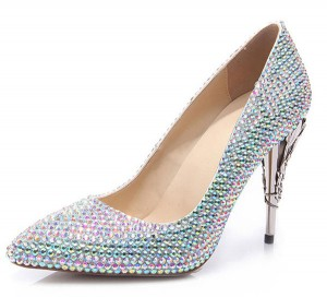 OEM Custom 10cm Night Club Handmade Shoes With Colorful Rhinestone