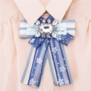 Nice Quality Blue Ribbon Floral Grosgrain Ribbon Corsage Silk Bow Corsage Factory