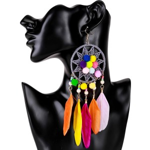 Wholesale Colorful Feather Earrings Europe And The United States Brand Earrings Hairball Earrings