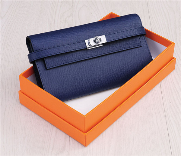 OEM Ladies Wallets Dark Blue Natural Leather Buckle Wallets Manufacturer Featured Image